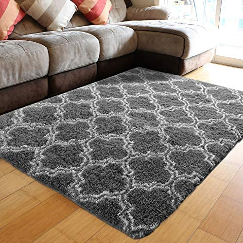 PAGISOFE Super Soft Fluffy Shag Modern Moroccan Geometric Trellis Floor Area Carpet Furry Lattice Fuzzy Rug Shaggy Rugs