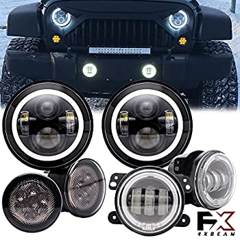 Image of 4XBEAM 7'Inch Halo LED Headlights W/ 4' Fog Lights /Smoke Lens Yellow LED Turn Signal Light for 2007-2018 Jeep Wrangler JK Headlight Assemblies