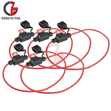 5PCS Waterproof Power Socket Mini Blade Type In Line Fuse Holders with 10A Fuse