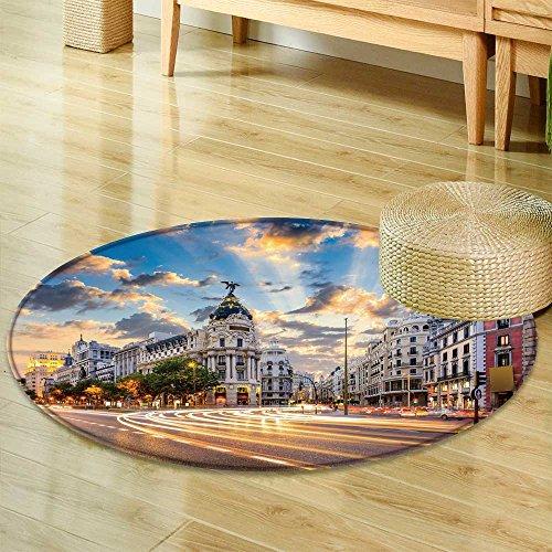 Round Area Rug CarpetMadrid Spain on Gran Via Living Dining Room Bedroom Hallway Office Carpet-Round 24'' by PRUNUSHOME