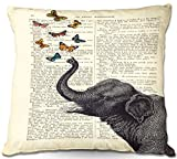 DiaNoche Designs Madame Memento Unique Bedroom, Living Room and Bathroom Ideas-Elephant Butterflies Decorative Woven Couch Throw Pillows, 16' x 16'