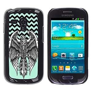 - Devil Cross Chevron Pattern - - Monedero pared Design Premium cuero del tir¨®n magn¨¦tico delgado del caso de la cubierta pata de ca FOR Samsung Galaxy S3 Mini I8190 Funny House
