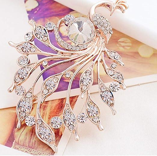 Lidahaotin Les Femmes Simul/é Strass Broche Paon Broches en Alliage Femme Breastpin Echarpes Boucle D/écorations de Bijoux color/é