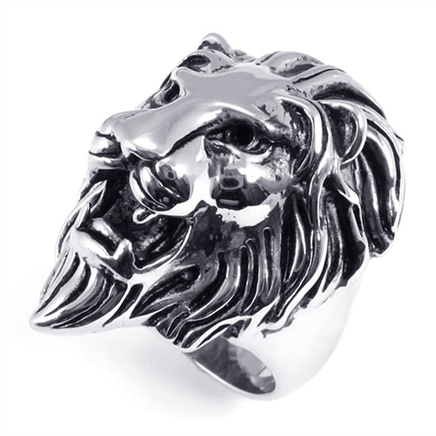 TEMEGO Jewelry Mens Stainless Steel Ring, Vintage Gothic Lion Head Band, Black Silver