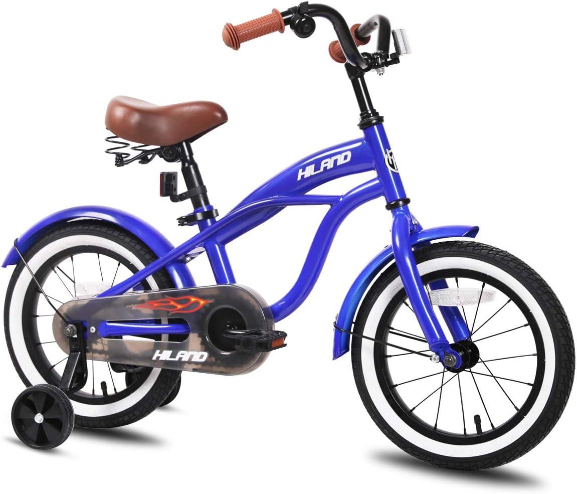 JOYSTAR Kids Bike with Training Wheels for Girls Boys, 12 14 16 Inch Red Orange Blue Silver