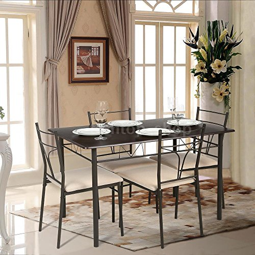 5 Piece Dining Table Set Metal Kitchen Table & 4 Chairs Modern Furniture