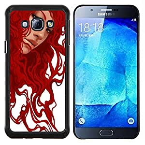 YiPhone /// Prima de resorte delgada de la cubierta del caso de Shell Armor - Pintura jengibre arte de la muchacha blanca - Samsung Galaxy A8 A8000