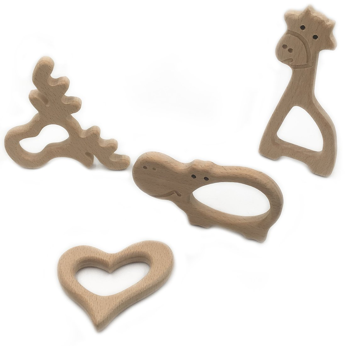 giraffe natural wooden baby teether toy