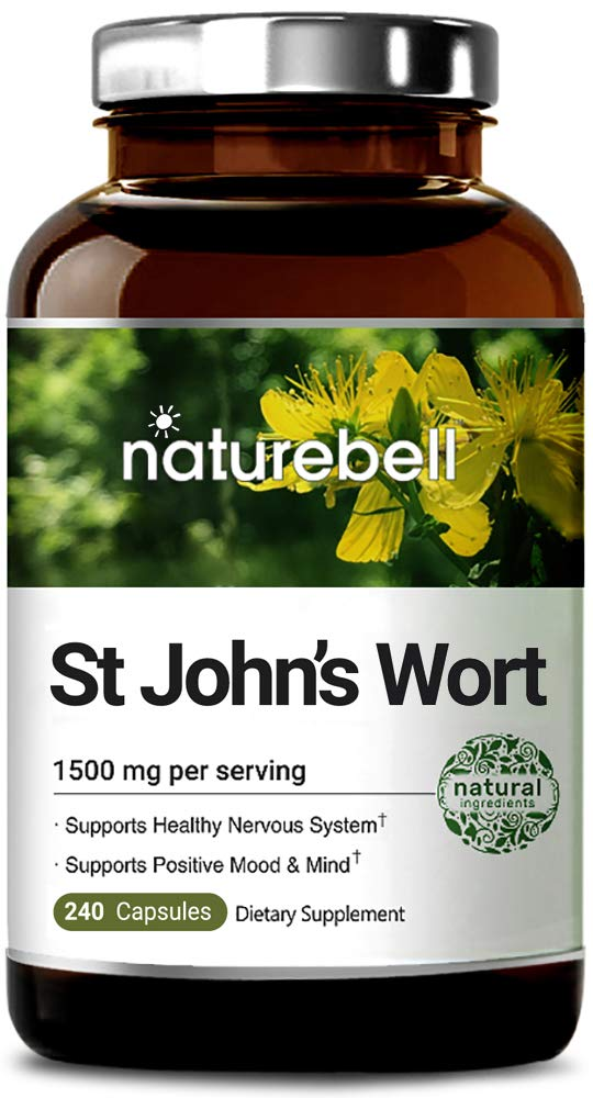 NatureBell St John's Wort 1500 mg, 240 Capsules, Powerfully Supports Positive Mood and Mind, Promotes Healthy Nervous System, No GMOs, No Preservatives, Made in USA