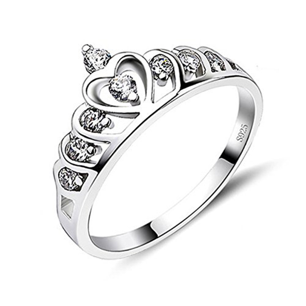 SUNDAYROSE Womens Crown Ring 925 Silver Princess Heart Tiara Eternity Ring A&A GNJ47