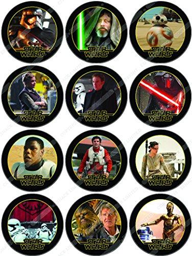 Cakeshop 12 x VORGESCHNITTENE UND ESSBARE Star Wars Kuchen topper (Tortenaufleger)