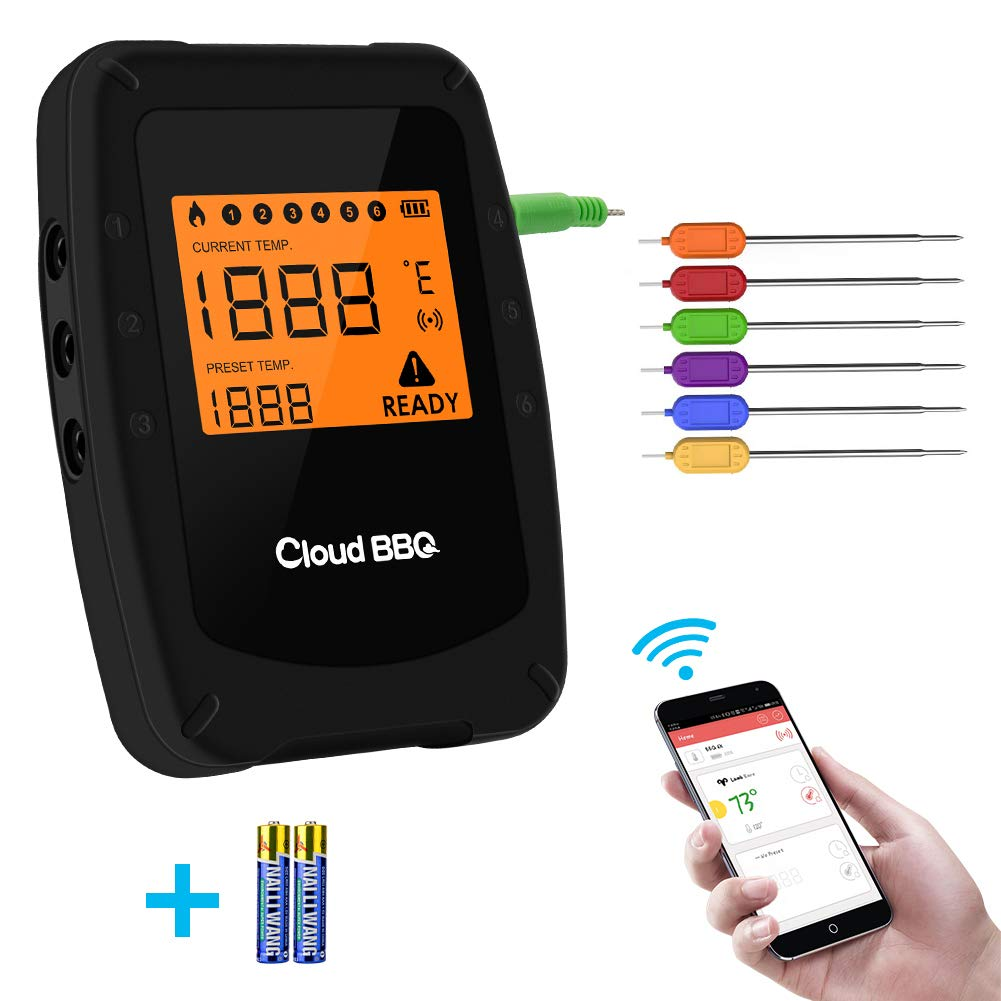 Wireless Meat Grill Thermometer Bluetooth Adapter for iOS&Android, Digital Wireless Thermometer,Meat Thermometer Bluetooth for Smokers,Kitchen Grilling,Oven and Outdoor BBQ (Black-6 probes) by Trcode