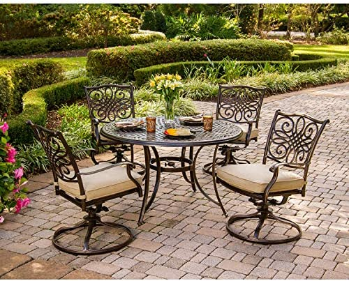 Hanover Traditions 5-Piece Cast Aluminum Outdoor Patio Dining Set