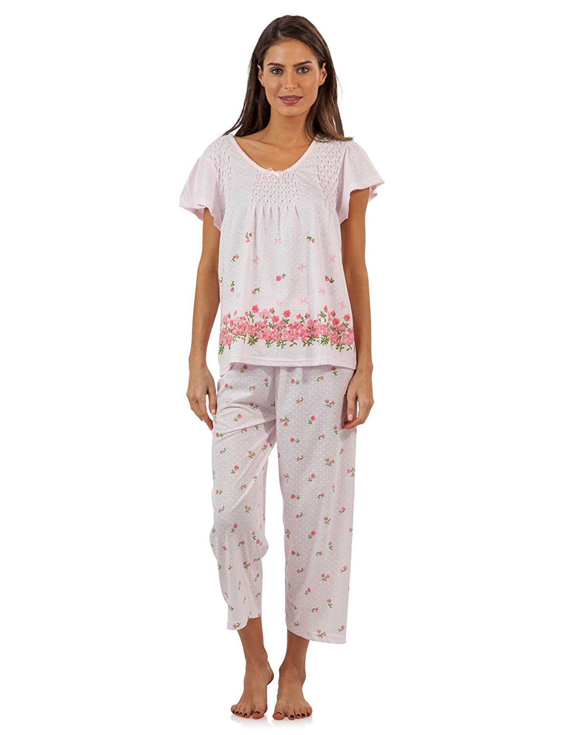 Casual Nights Women's Short Sleeve Floral Border Capri Pajama Set Printed 2 Piece Pj's Set