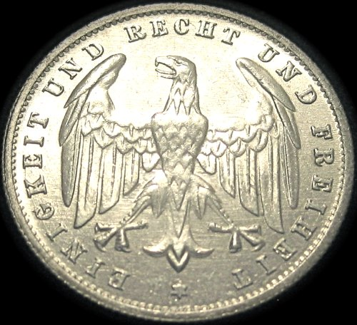 Germany Silver Coin - German 500 Mark Coin - 1923A - Extra Fine Condition!
