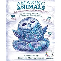 RELAXING Grown Up Coloring Book: Amazing Animals - For Relaxation, Meditation, Stress Relief, Calm And Healing (Zen Art Therapy with Mandala Designs - Mindfulness for Adult Women and Men)
