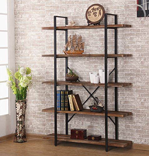 O&K Furniture 5-Shelf Industrial Style Bookcase and Shelves, Free Standing Storage shelf units
