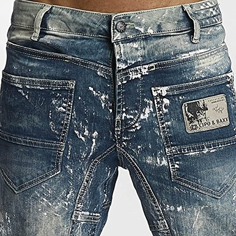 Cipo & Baxx męskie nietuzinkowe dżinsy Straight Fit regularne spodnie z kolorem wtryskowym niebieski W32 L34: Odzież