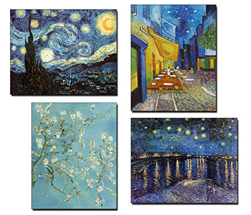 Vincent Van Gogh Art Paintings Reprints - Popular Starry Night, Almond Blossom Painting, Cafe Print - Set of 4 8 x 10 Posters - Wall Decor Painting for Office, Bedroom, Kitchen, Living Room