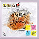    SIZE: 12.2inch x 12inch (31cms x 30cms): including 0.5 inch wide White Frame Multipurpose designer fabric-covered cork board, pin board, notice board or bulletin board to enhance the beauty of your home & office space. Ideal for personal usag...