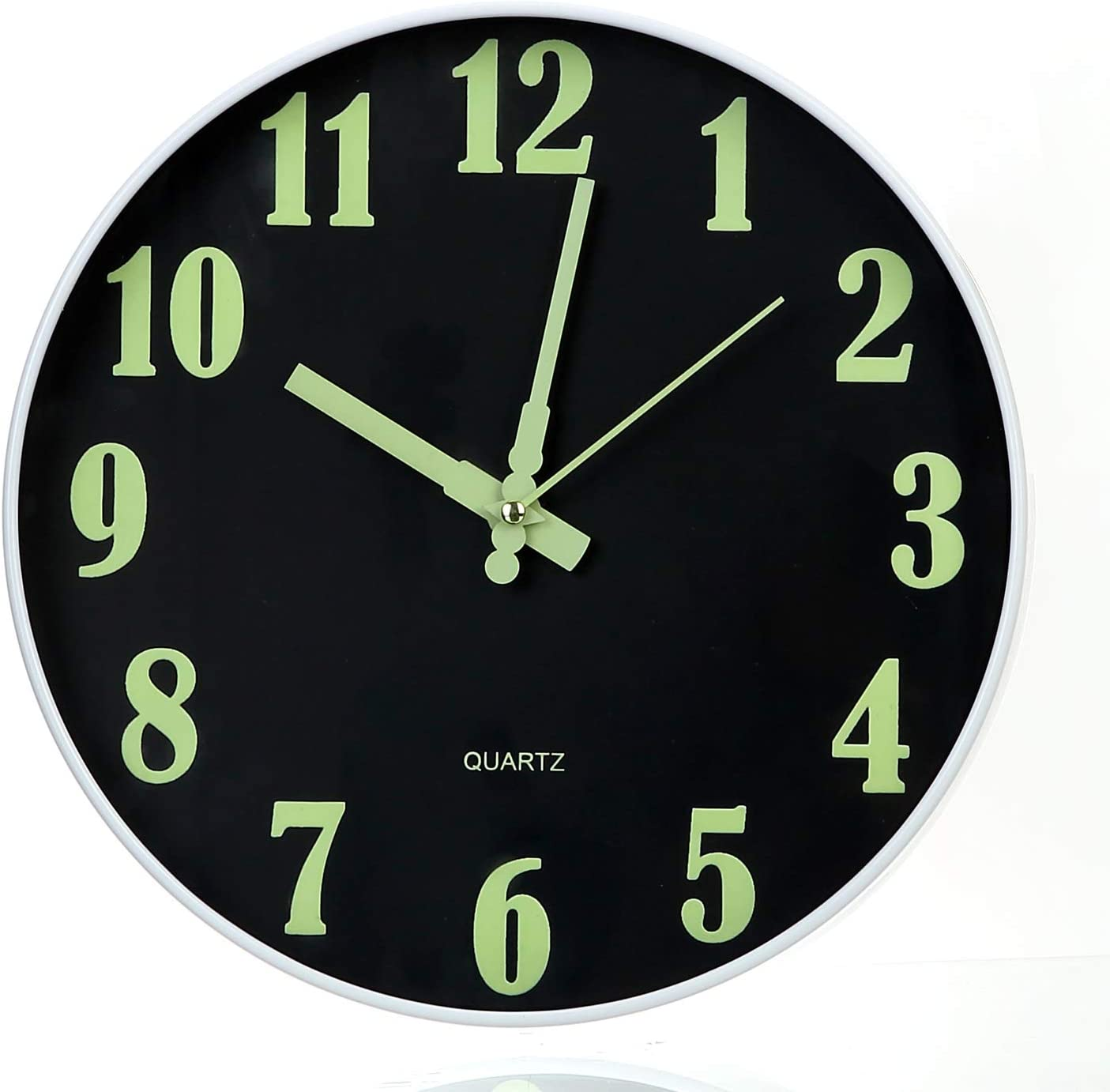 """Tiords Modern 12"""" Glow in The Dark Wall Clock, Farmhouse Living Room Battery Operated Silent Clock for Bedroom Non-Ticking"""