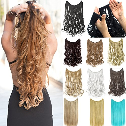 Miracle Secret Invisible Wire Hair Extensions Curly Straight No Clip Hairpieces - Miracle Bit Set