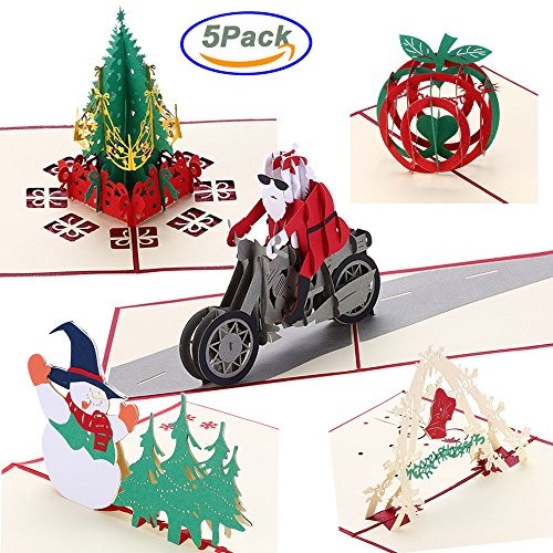 3D Pop up Christmas cards Pop-up handmade Gift Papercraft Greeting Cards with Envelope for Xmas New Year Holiday Festival Gift Include - Christmas Tree cards Snowman Bell Apple Santa riding motorcycle