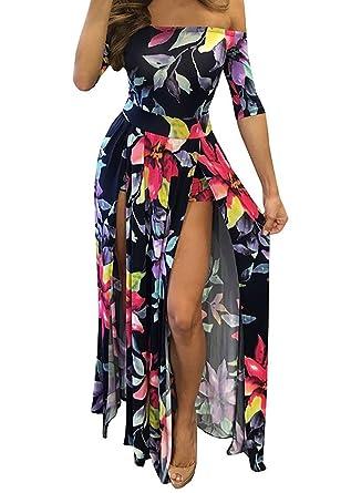 8880974d47a6 Women Floral Off Shoulder Beach High Low Split Maxi Romper Jumpsuit ...