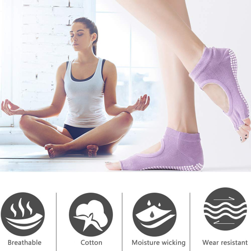 Dance Puimentiua Yoga Socks for Women with Grip /& Non Slip Toeless Anti-Skid Half Toe Socks for Ballet Pilates Barre Workout