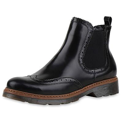 8101b1a3a6e431 SCARPE VITA Damen Chelsea Boots Profil Sohle Lochmuster Stiefeletten 165807  Schwarz 36