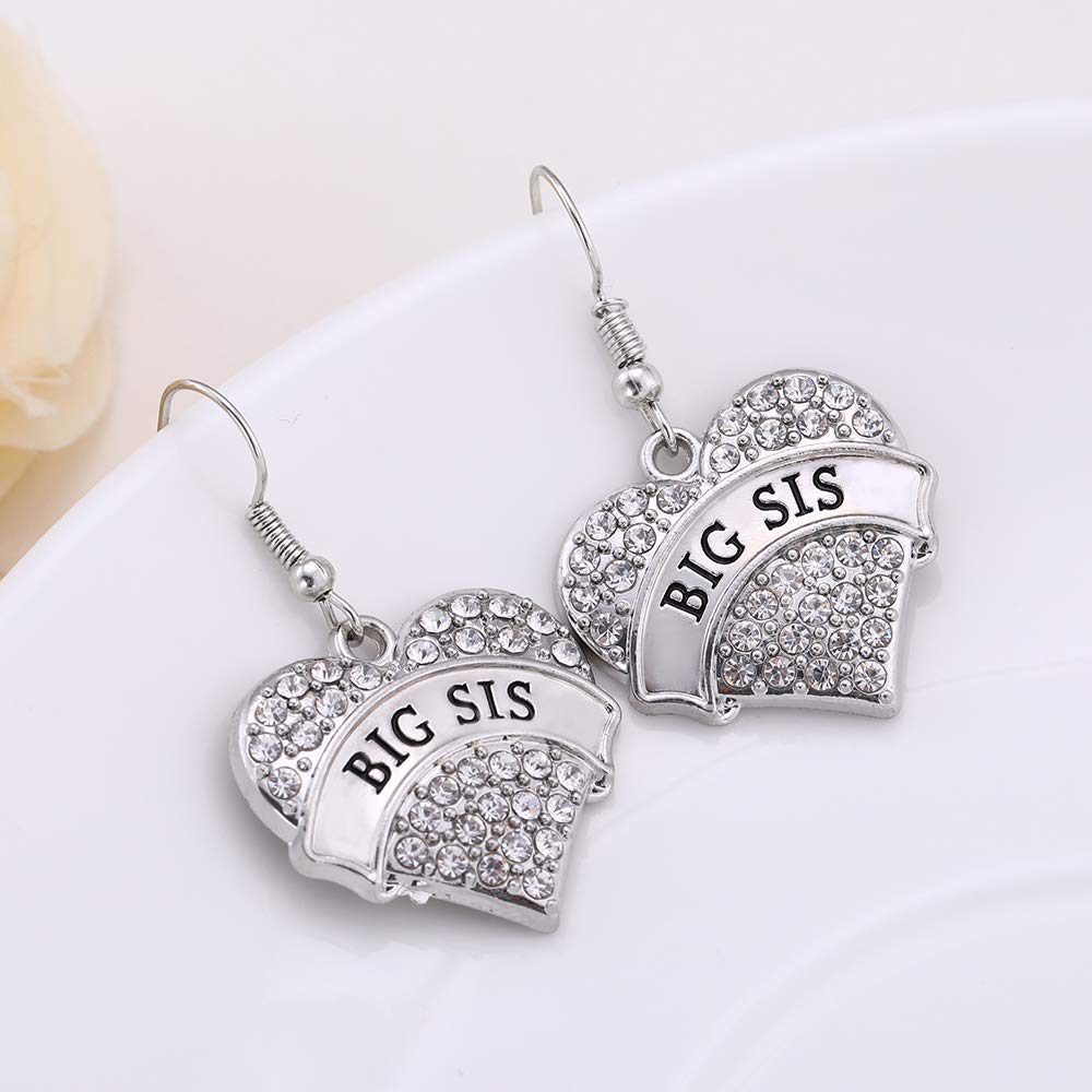 EUEAVAN Big Sister Little Sister Crystal Heart Shape Hook Earrings for Female