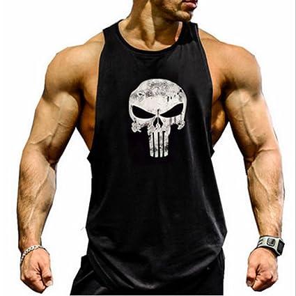 dacde3bf8422e3 New Fi Men s Skull Bodybuilding Fitness Stringer Tank Top Sport Gym  Sleeveless Vest(Black