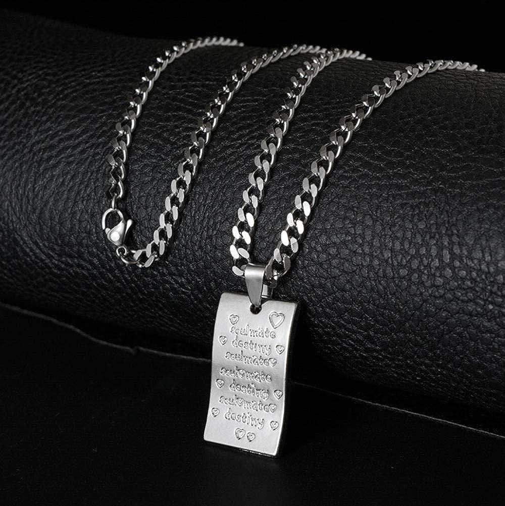 WANGXJ Titanium Steel Necklace Men and Women Retro Alloy Letter Pendant