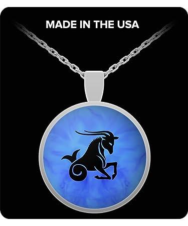 Amazon com : Capricorn Sign - Zodiac - Round/Square Pendant