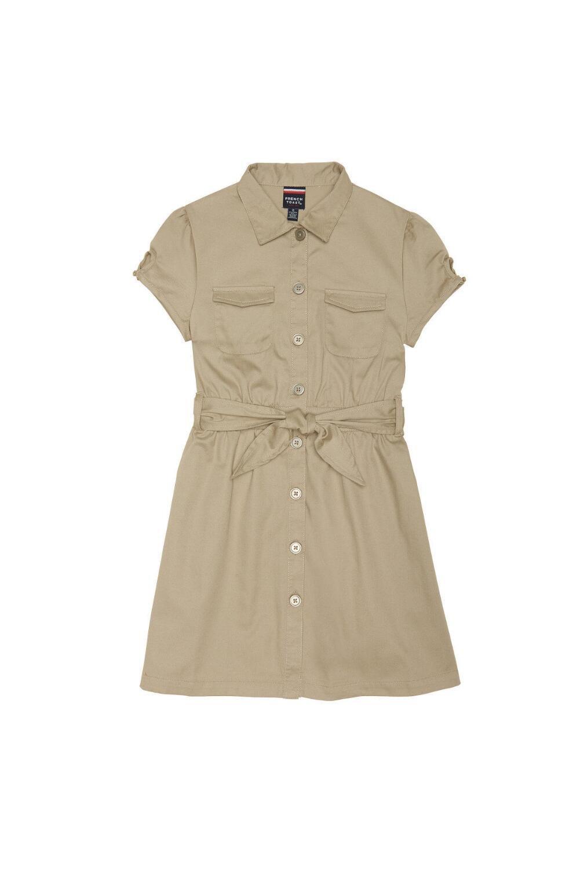 French Toast Big Girls' Twill Safari Shirtdress, Khaki, 7