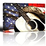 Wall26 - Cowboy hat and guitar on patriotic flag background - Woodgrain image rustic americana - Country and Western music - Canvas Art Home Decor - 12x18 inches