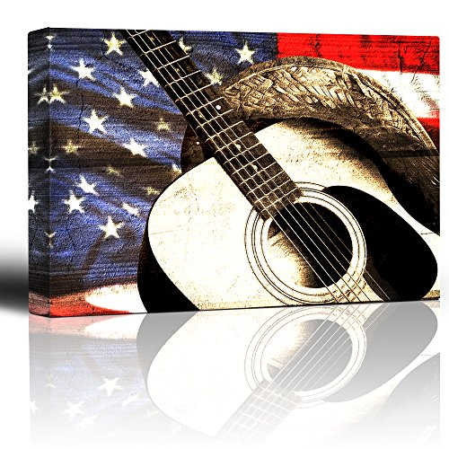 Cowboy hat and Guitar on Patriotic Flag Background Woodgrain Image Rustic Americana Country and Western Music