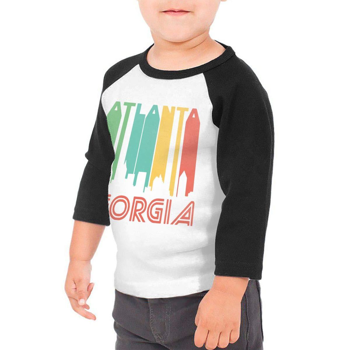 QPKMRTZTX0 Boys Girls Kids /& Toddler Atlanta City Skyline Long Sleeve Tees 100/% Cotton