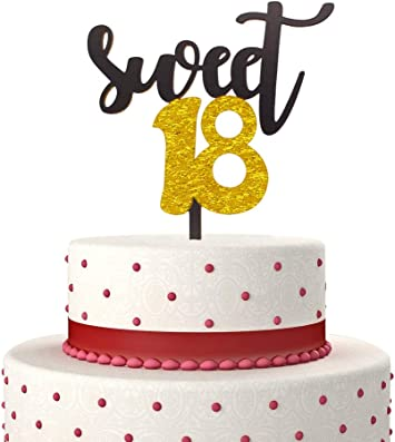 Incredible Sweet 18 Cake Topper For Happy 18Th Birthday Or Anniversary Party Funny Birthday Cards Online Elaedamsfinfo