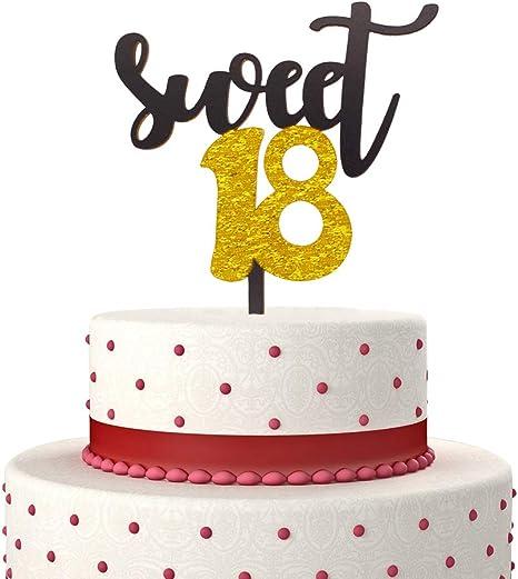18 Cake Topper Acrylic Black Eighteen Birthday Anniversary Party Decorations