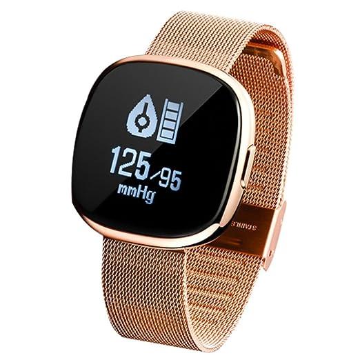 Wokee Reloj Inteligente Deportivo Fitness Actividad Corazón Ritmo Seguimiento de la Presión Sangre Reloj para Hombre Mujer, color oro rosa: Amazon.es: ...