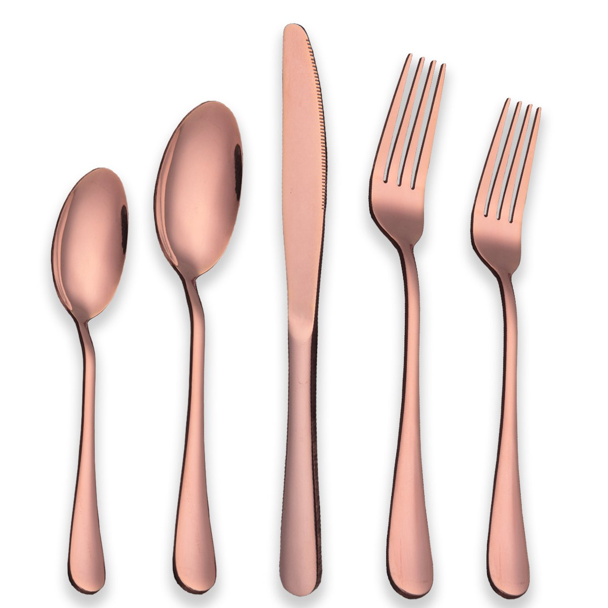 Berglander Stainless Steel Copper Color Flatware Set Rose Gold, 20 Piece Rose Gold Plated Stainless Steel Silverware Set Cutlery Sets, Service for 4 (20 piece) Berglander Houseware CO. LTD (B401+B403+B412+B413+B414)x4