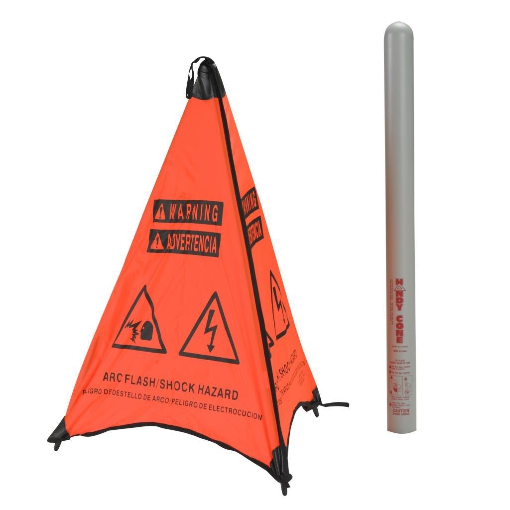 Arc Flash Hazard English 31'' Orange Cone w/Grey Storage Tube
