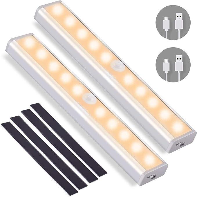 24 LED USB Recargable Barra de Luz L/àmpara con Tiras Magn/éticas para Armario Ba/ño Caj/ón Blanco c/álido-1 Pack Gabinete AlfaView Luz Armario con Sensor de Movimiento Pasillo