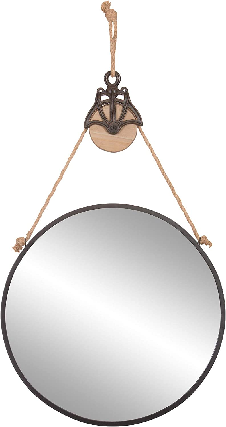 "Patton Wall Decor 24"" Round Metal Hanging Rope and Antique Pully Wall Mounted Mirrors, Black"