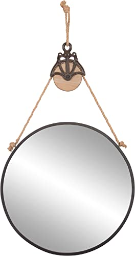 Patton Wall Decor 24 Round Metal Hanging Rope and Antique Pully Wall Mounted Mirrors, Black