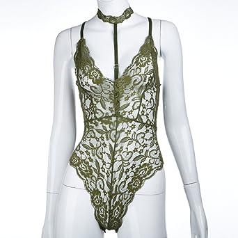 Amazon.com  Disheen Sheer Lace Choker Neck Bodysuit 825bbc5d7