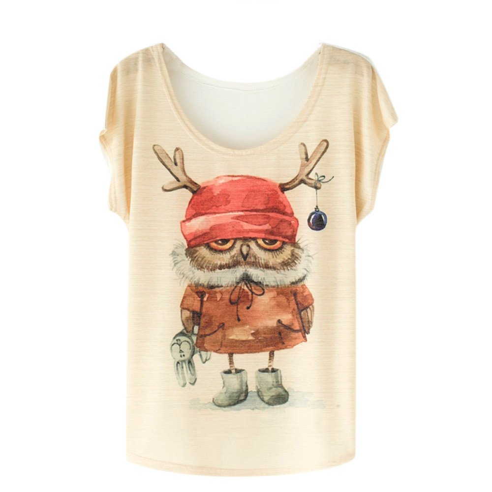 Women Mix Printed Bat Blouse, Loose Casual Short Sleeve Printing T-Shirt Tops