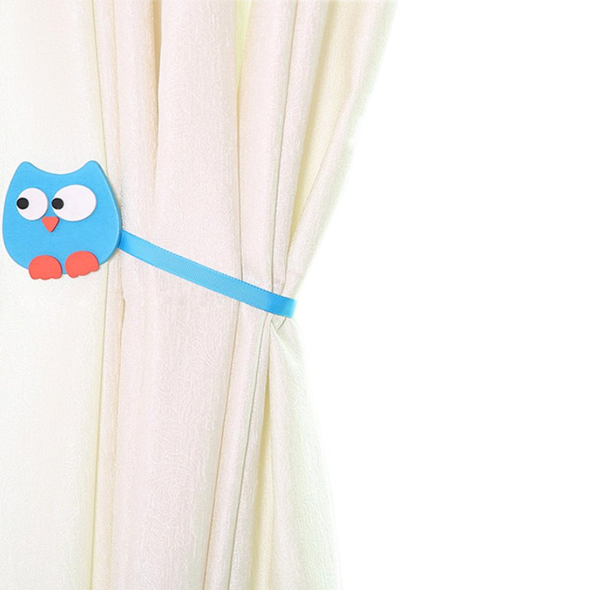 YING CHIC YYC 2 Pcs Cute Owl Magnetic Curtain Buckle Tieback Kid's Room Drapey Holder Ribbon Rope (Blue)