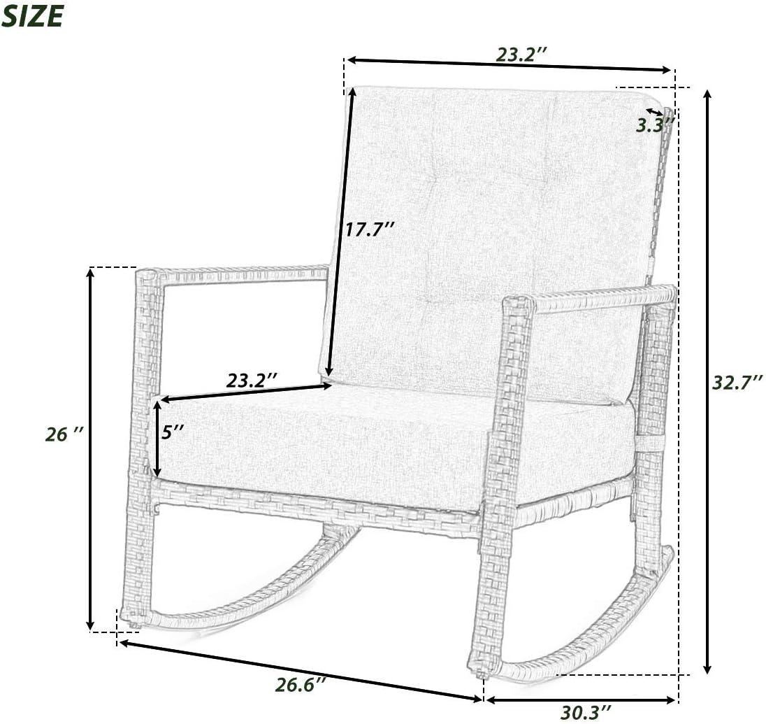 Cushioned Rattan Rocker Chair Rocking Armchair Chair Outdoor Patio Glider Lounge Wicker Chair Furniture with Cushion Grey Cushion